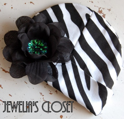 PUNK PRINCESS COLLECTION- NEWBORN INFANT BABY HAT ZEBRA PRINT BEANIE WITH DETACHABLE FLOWER CLIP PLUS 2 FREE MATCHING HEADBANDS- SIZES (0-6 MONTHS) AND (6-12 MONTHS)-ANIMAL PRINT, ROCK STAR, PUNK ROCKER, ROCKABILLY, EMO, GOTH