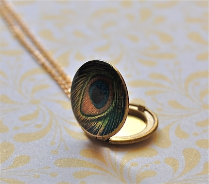 The Tiniest Peacock Feather Locket - Vintage
