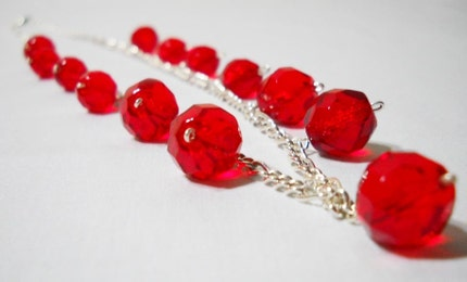 Cherry Red Czech Fire Polished Glass Chain Necklace