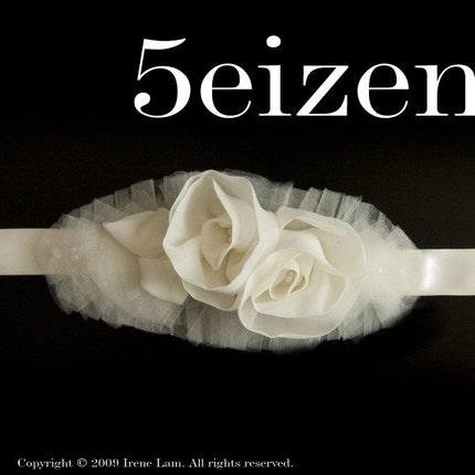 Juliette Series - Ivory Bloom Wedding Sash/Belt