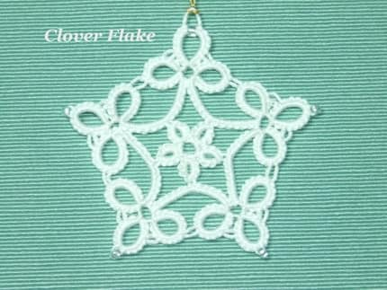 SHIPPING SALE-OOAK-Tatted 5 pointed CLOVER Flake with glass beads