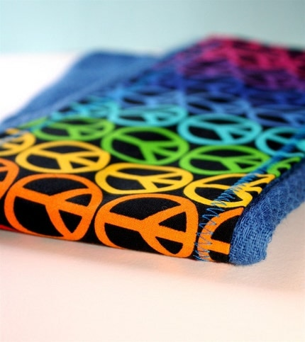 Rainbow of peace hand-dyed deep blue burp cloth