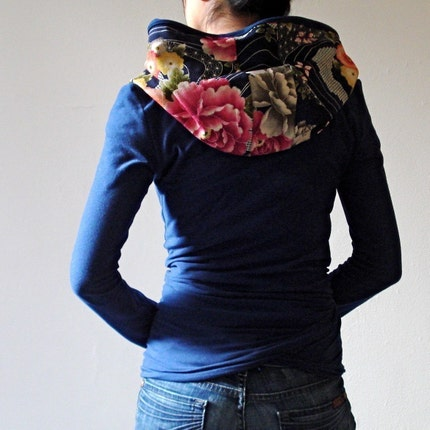 Hoodie Wrap, Japanese Print and Organic Soy Jersey - KANA, 13 Color Combinations, Customize Yours