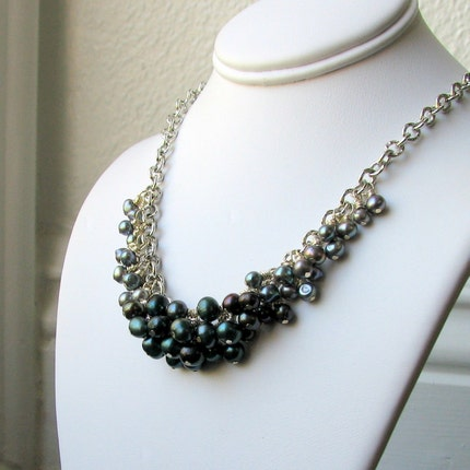 Cerena Urban Glam Silver and Blue Pearl Necklace