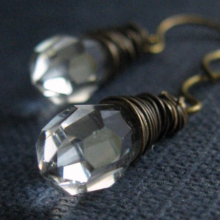 Jealous Girlfriend Earrings - Czech glass drops and brass