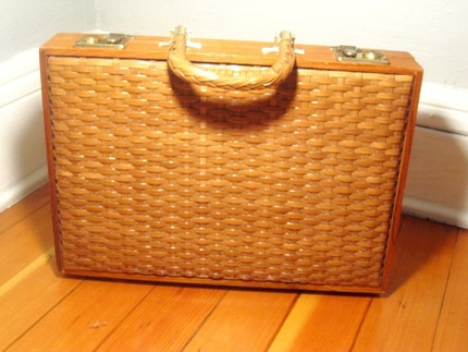 Casablanca Briefcase Vintage Rattan by VanGoghsCloset on Etsy