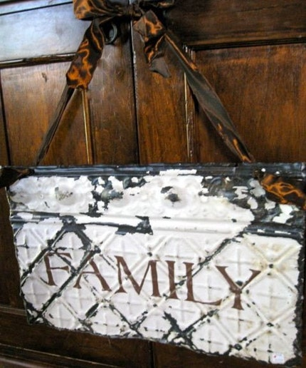 Family Sign made with Upcycled Antique Ceiling Tin / Architectural Salvage Decor