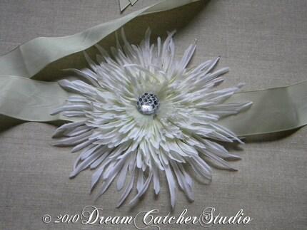 Janette Spring Flower Belt with Crystal Accent , Bridal Belt,Sash