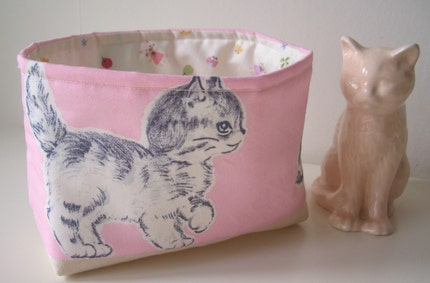 Fabric Tubby for Sharing, Snacking or Storage - Kittens