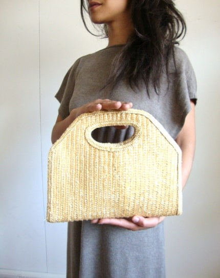 Vintage 1970 Straw Wicker Handbag Purse by thepuddingstorevint