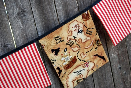 Pirate playroom banner / fabric flag bunting