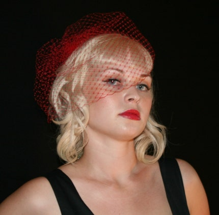 Red Hot French Birdcage Veil by VintageBox1947 from etsy.com