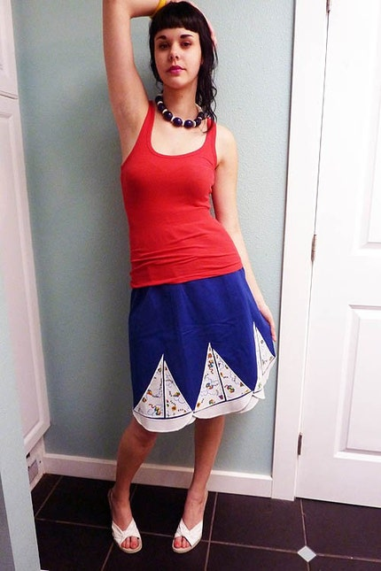 NAUTICAL novelty KITES vintage 70s scalloped WRAP skirt M