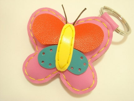 Lovely Butterfly Leather Keychain ( PInk )