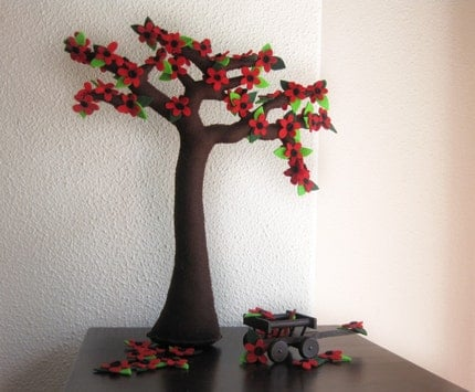 Camellia Tree of red flowers - Felt tree