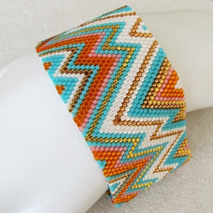 Summer Abstract Peyote Cuff (2476)