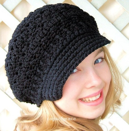 Adult Crochet Newsgirl Hat - black, natural cotton