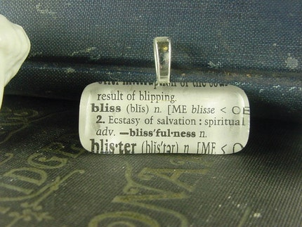 BLISS - VINTAGE DICTIONARY PENDANT  NECKLACE  - BLISS