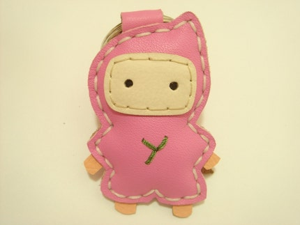 Lovely Taka the Ninja Leather Keychain ( Pink )