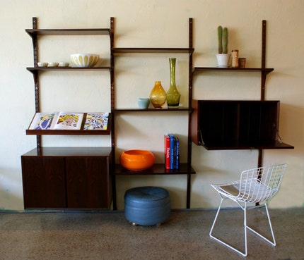 Vintage Mid Century Danish Modern Rosewood Modular Wall Unit similar to Poul Cadovius Cado System