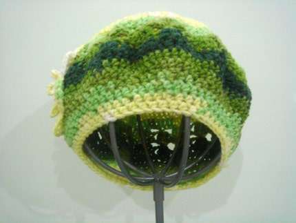 Crocheted Green yellow yarn Beret with flower by cookieletta from etsy.com