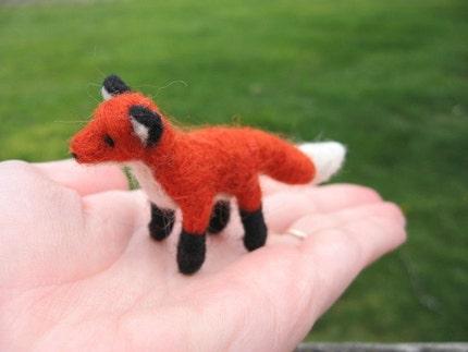 Miniature Fox Needle Felted Figure