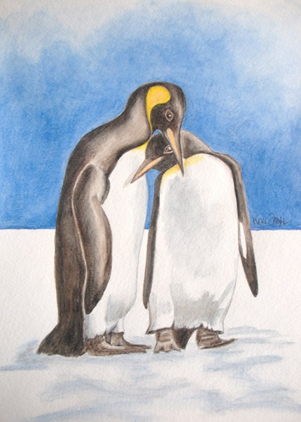 My Only Penguin ORIGINAL watercolor painting by konifrazer on etsy