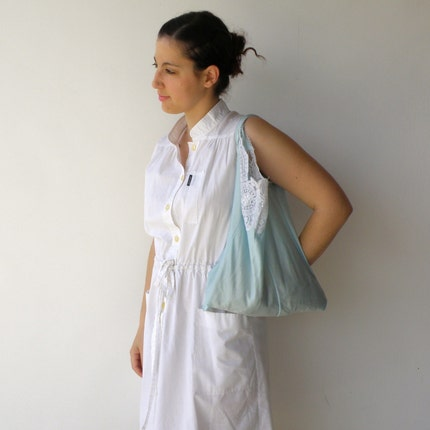 Upcycled Pale Mint Nylon and Lace Vintage Slip Bag