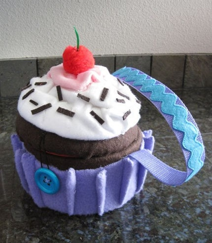 Cute Light Purple Cupcake Purse (can be custom made to your favorite colors and flavors)
