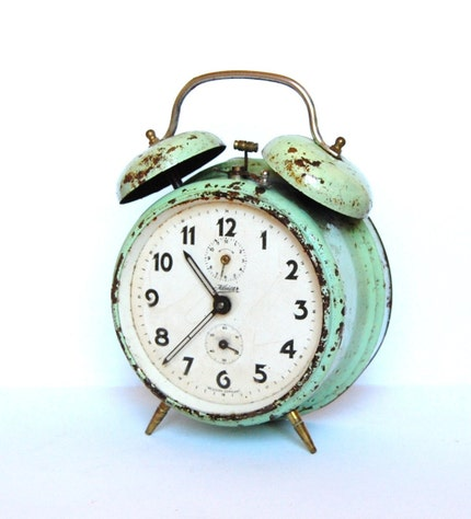 Vintage rusty alarm clock from Germany in teal color by spacejam from ...