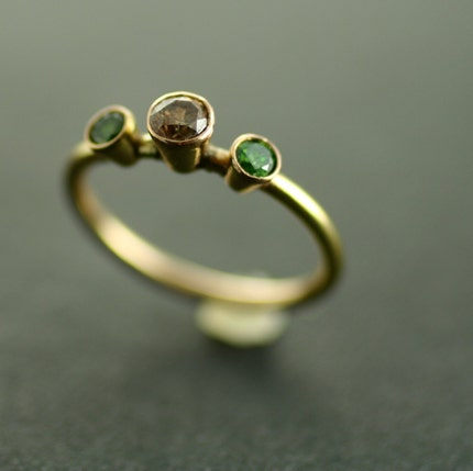 Green and Champagne Diamond Three Stone Ring