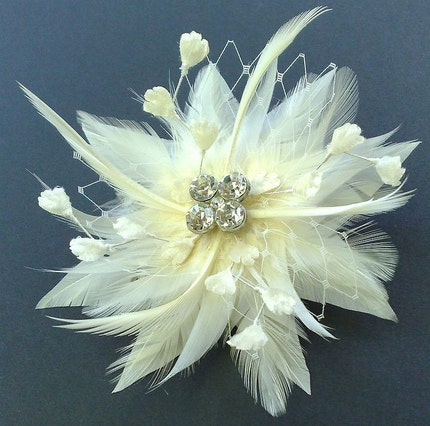 Bridal Hair Feather Fascinator Vintage Crystal Ivory STARDOM - SHIP READY