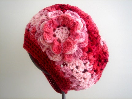 Crocheted Multi yarn Beret with flower by cookieletta on Etsy from etsy.com