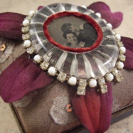 Ultra Special Sisters Tin Type Jewelry Treasure Box- Altered Art One of a Kind