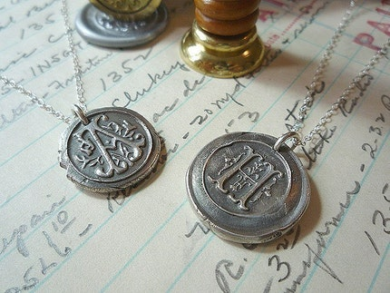 Wax Seal Monogram Fob Necklace  Fine Silver any Letter  Oxidised
