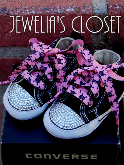 Custom Rhinestone Punk Rock INFANT CRIB SHOE Chuck Taylor All Star Converse w/ Pink Ribbon Laces w/ Black Skulls PLUS 2 FREE MATCHING HAIR CLIPS ADORNED WITH SWAROVSKI'S- MAKES A GREAT BABY SHOWER GIFT-Bling Converse, Rockabilly, Emo, pirate, skeleton