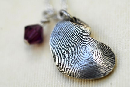Sterling Silver Fingerprint Large Free Form Heart Necklace with Birthstone
