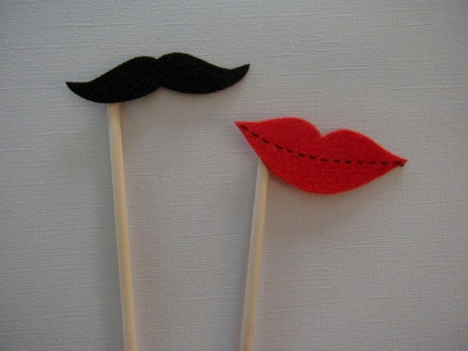 Mustache and Lips on a Stick - The Couple