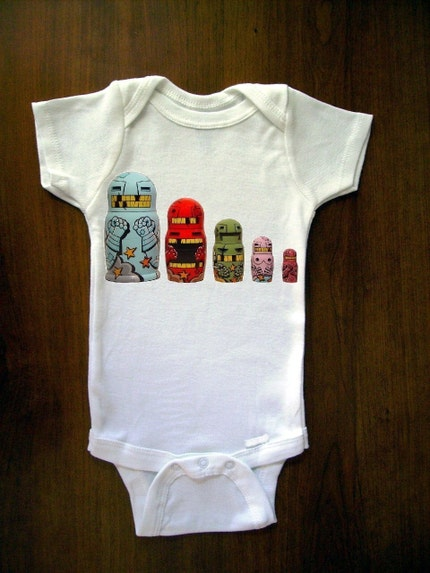 Cute Multi Colored Robot Nesting Dolls Or Babushka Dolls Baby One Piece Bodysuit, Romper, Jumper, Onesie From TrulySanctuary, Great Baby Shower Gift, First Birthday Gift Or Party Favor