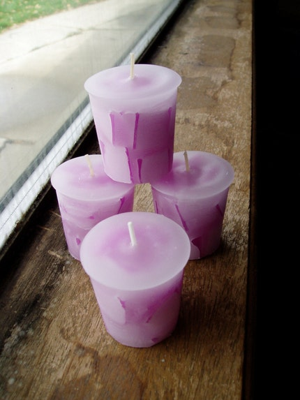 purple love spell chunk votive candle