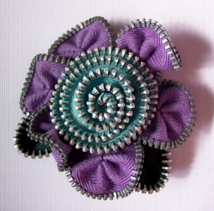 Lavender and Turquoise Floral Brooch / Zipper Pin by ZipPinning 1109