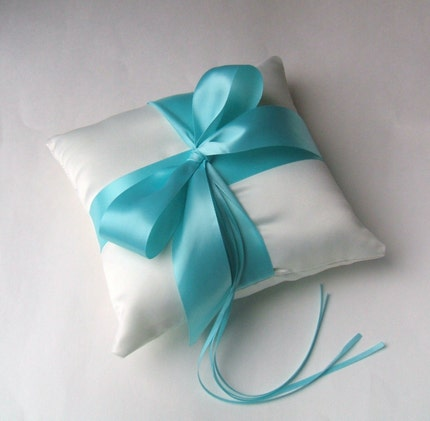 Romantic Satin Ring Bearer Pillow...You Choose the Colors.SHOWN IN TIFFANY BLUE AND IVORY..Buy One Get One Half Off.<br />