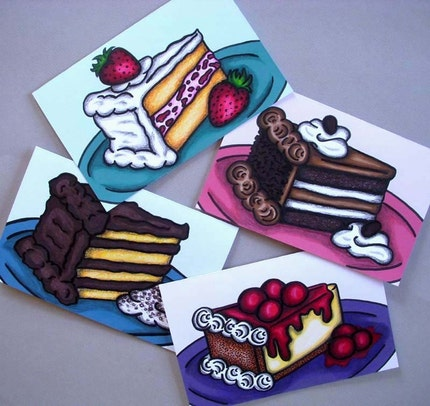 Set of 8 Cake Note Cards