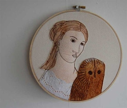 Lady with Owl -Sarah- collaged embroidery ON SALE