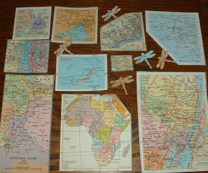 30 Vintage Small to Medium Inset Maps from Atlas Pages etc for Your Artwork Great for Travel Theme Collage Pack 174