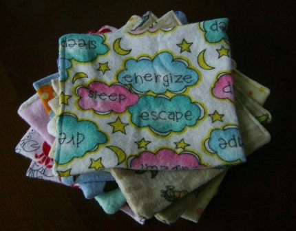 Flannel Baby Wipes -reusable - set of 10