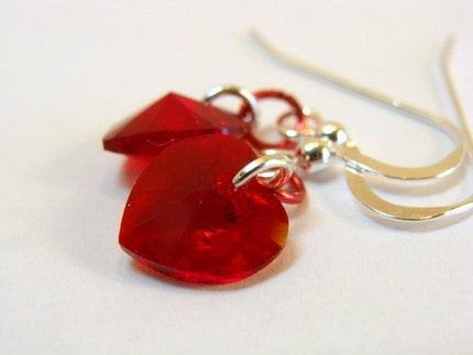 Swarovski Crystal Heart Earrings in Red AB