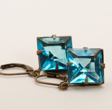 Vintage Glass Jewel Earrings - Deep Aqua Blue