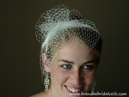 Floating Mini Birdcage Veil On Headband with Feather and Rhinestone Accents