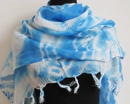 lightweight Wrinkle Blue Sky nature fields Stripe print Scarves Gradient  M3